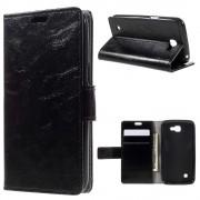 LG K4 læder cover med kort lommer sort, Mobiltelefon tilbehør