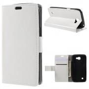 LG K4 læder cover med kort lommer hvid, Mobiltelefon tilbehør