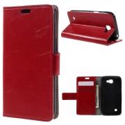 LG K4 læder cover med kort lommer rød, Mobiltelefon tilbehør