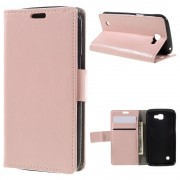 LG K4 læder cover med kort lommer pink, Mobiltelefon tilbehør
