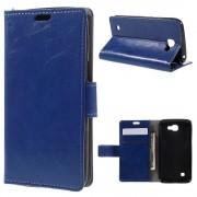LG K4 læder cover med kort lommer blå, Mobiltelefon tilbehør