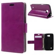 LG K4 læder cover med kort lommer lilla, Mobiltelefon tilbehør
