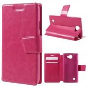 LG K4 læder cover med lommer rosa, Mobiltelefon tilbehør