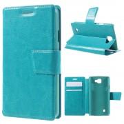 LG K4 læder cover med lommer blå, Mobiltelefon tilbehør
