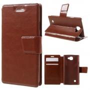 LG K4 læder cover med lommer brun, Mobiltelefon tilbehør