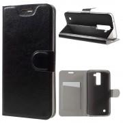 LG K8 læder cover med lomme sort, Mobiltelefon tilbehør