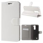 LG K8 læder cover med lomme hvid, Mobiltelefon tilbehør