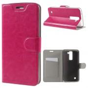LG K8 læder cover med lomme rosa, Mobiltelefon tilbehør