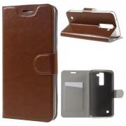 LG K8 læder cover med lomme brun, Mobiltelefon tilbehør