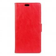 LG K8 læder cover med kort lommer rød, Mobiltelefon tilbehør