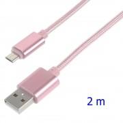 Usb micro kabel 2 meter pink Mobiltelefon tilbehør