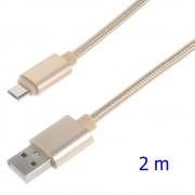 Usb micro kabel 2 meter guld Leveso.dk Mobiltelefon tilbehør
