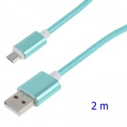 Usb micro kabel 2 meter cyan Leveso.dk Mobil tilbehør