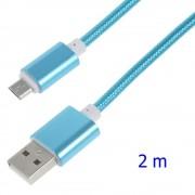 blå Usb micro kabel 2 meter Mobiltelefon tilbehør Leveso.dk