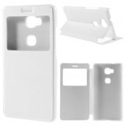 HUAWEI HONOR 5X tynd læder cover med vindue, hvid Mobiltelefon tilbehør