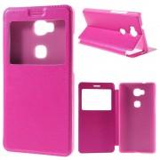 HUAWEI HONOR 5X tynd læder cover med vindue, rosa Mobiltelefon tilbehør