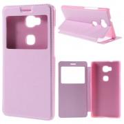 HUAWEI HONOR 5X tynd læder cover med vindue, pink Mobiltelefon tilbehør