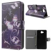 Huawei Y6 pro - Enjoy 5 cover m mønster Purple Butterfly Mobiltelefon tilbehør