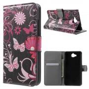 Huawei Y6 pro - Enjoy 5 cover m mønster Butterfly Flowers Mobiltelefon tilbehør