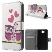 Huawei Y6 pro - Enjoy 5 cover m mønster Lovely Owls and Hearts Mobiltelefon tilbehør