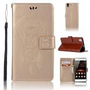 Flip cover med lommer guld Huawei Y6 2 Mobil tilbehør