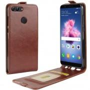 Vertikal flip cover brun Huawei P smart Mobilcovers