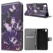 HUAWEI Y6 mønstret læder pung cover Purple Butterfly, Mobiltelefon tilbehør