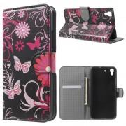 HUAWEI Y6 mønstret læder pung cover Butterflies and Flowers, Mobiltelefon tilbehør