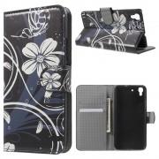 HUAWEI Y6 mønstret læder pung cover White Flower, Mobiltelefon tilbehør