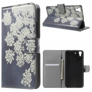 HUAWEI Y6 mønstret læder pung cover Pretty White Blossom, Mobiltelefon tilbehør