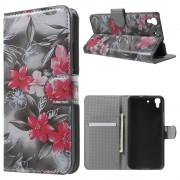 HUAWEI Y6 mønstret læder pung cover Red Flowers, Mobiltelefon tilbehør