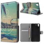 HUAWEI Y6 mønstret læder pung cover Anchor and Trees, Mobiltelefon tilbehør