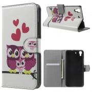 HUAWEI Y6 mønstret læder pung cover Sweet Owl Family, Mobiltelefon tilbehør
