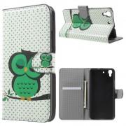 HUAWEI Y6 mønstret læder pung cover Green Napping Owl, Mobiltelefon tilbehør