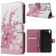 HUAWEI Y6 mønstret læder pung cover Plum Blossom, Mobiltelefon tilbehør