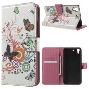 HUAWEI Y6 mønstret læder pung cover Butterflies and Circles, Mobiltelefon tilbehør