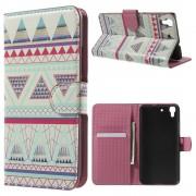 HUAWEI Y6 mønstret læder pung cover Triangles Pattern, Mobiltelefon tilbehør