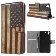 HUAWEI Y6 mønstret læder pung cover Vintage US Flag, Mobiltelefon tilbehør