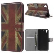 HUAWEI Y6 mønstret læder pung cover Retro UK Flag, Mobiltelefon tilbehør