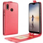 Vertikal flip cover rød Huawei P20 lite Mobil tilbehør