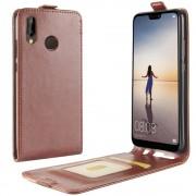 Vertikal flip cover brun Huawei P20 lite Mobil tilbehør