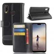 Flip cover sort ægte læder Huawei P20 lite Mobil tilbehør
