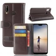 Flip cover brun ægte læder Huawei P20 lite Mobil tilbehør