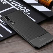 Carbon style tpu cover sort Huawei P20 pro Mobil tilbehør