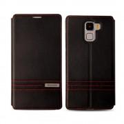 HUAWEI HONOR 7 premium læder cover med kort lommer, sort Mobiltelefon tilbehør
