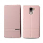 HUAWEI HONOR 7 premium læder cover med kort lommer, pink Mobiltelefon tilbehør