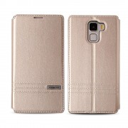 HUAWEI HONOR 7 premium læder cover med kort lommer, guld Mobiltelefon tilbehør