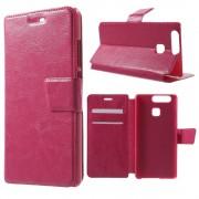 HUAWEI P9 læder cover med lommer, rosa Mobiltelefon tilbehør