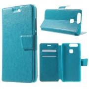 HUAWEI P9 læder cover med lommer, blå Mobiltelefon tilbehør