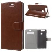 HUAWEI P9 læder cover - etui med lommer, brun Mobiltelefon tilbehør
